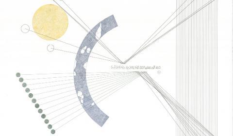 La poétique de l'éther, #7, feutre pigmentaire, transfert et encre sur papier coton, 56cm× 76cm, 2016©Haythem Zakaria